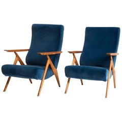 Italian Midcentury Antonio Gorgone Blu Velvet Walnut Wood Reclining Armchairs