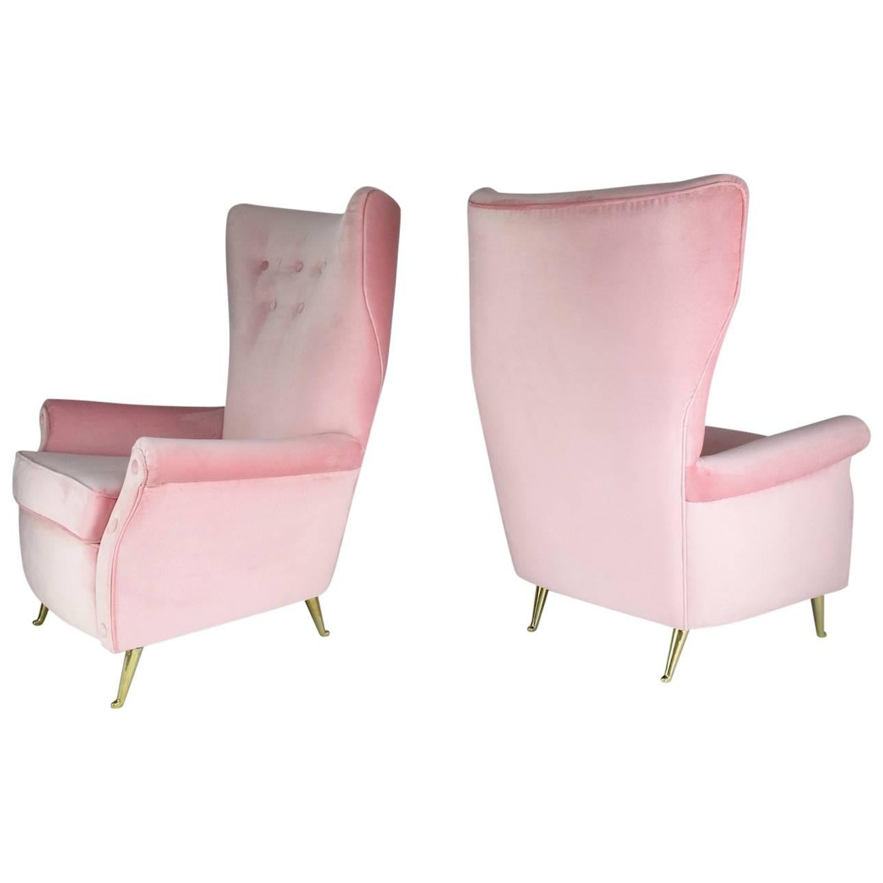 Italian Mid-Century Armchairs by ISA Bergamo, Set of Two, 1950s