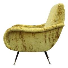 Italian Mid-Century Armchairs Foot Brass Gold Velvet Yellow Zanuso Style