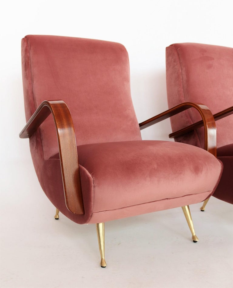 Mid-20th Century Italian Midcentury Armchairs in Mahogany, Brass and Coral Red Velvet, 1950s For Sale