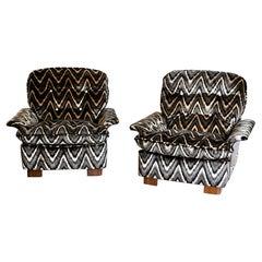 Italian Midcentury Armchairs Missoni Fabric