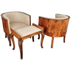 Italian Midcentury Art Deco Briar Walnut Wood Pair of Armchairs with Stools