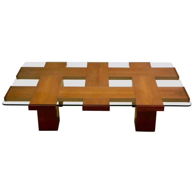 Italian Midcentury Ash & Glass Grid Motif Coffee Table Marco Zanuso, Attributed For Sale