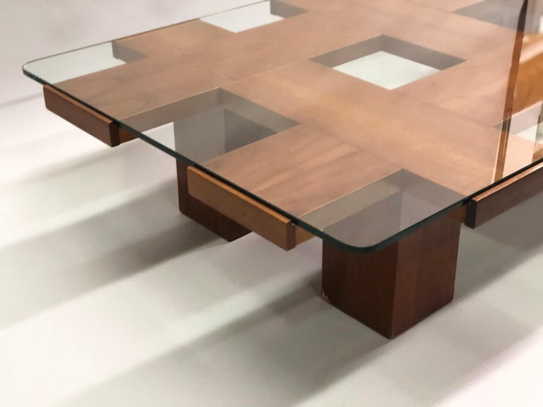 Italian Midcentury Ash & Glass Grid Motif Coffee Table Marco Zanuso, Attributed For Sale 5