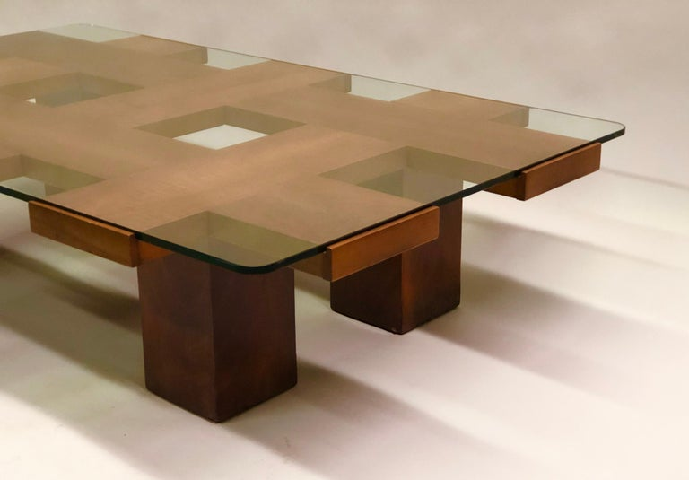 Italian Midcentury Ash & Glass Grid Motif Coffee Table Marco Zanuso, Attributed For Sale 6