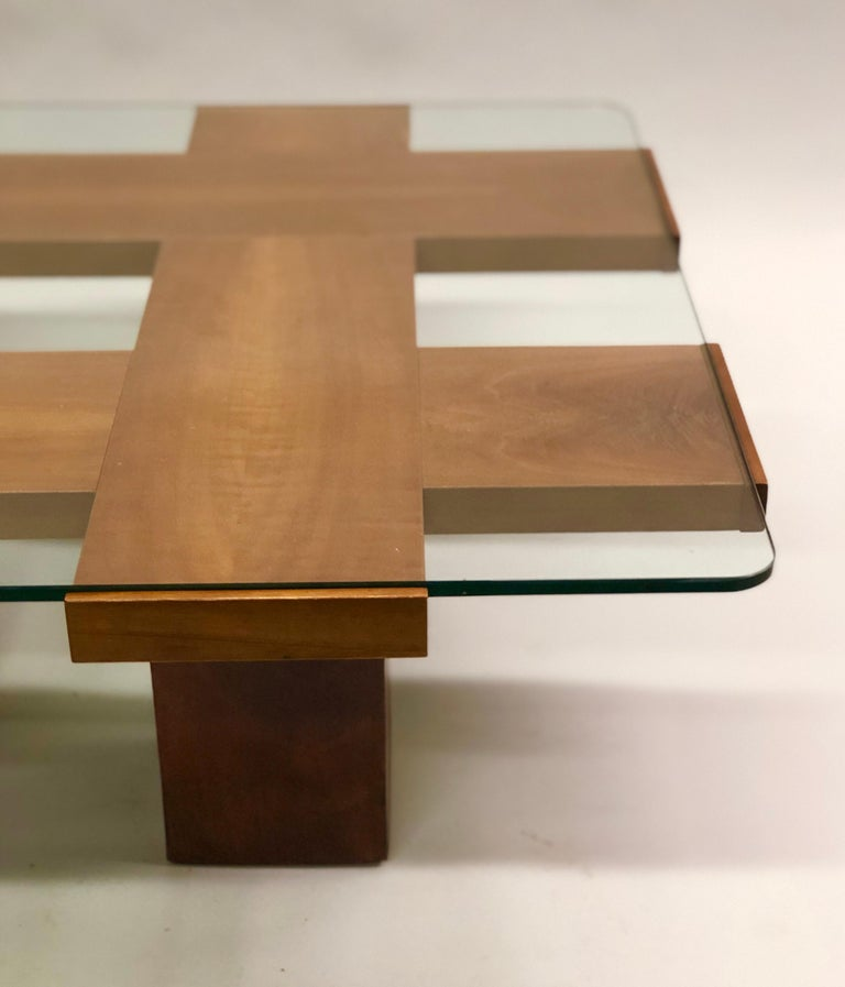 Italian Midcentury Ash & Glass Grid Motif Coffee Table Marco Zanuso, Attributed For Sale 7