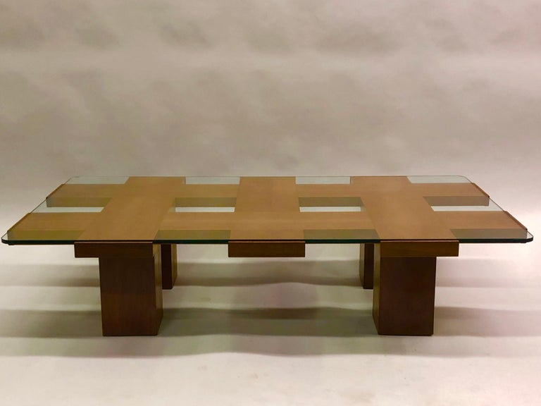 Mid-Century Modern Italian Midcentury Ash & Glass Grid Motif Coffee Table Marco Zanuso, Attributed For Sale