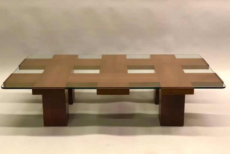 Italian Midcentury Ash & Glass Grid Motif Coffee Table Marco Zanuso, Attributed In Good Condition For Sale In New York, NY
