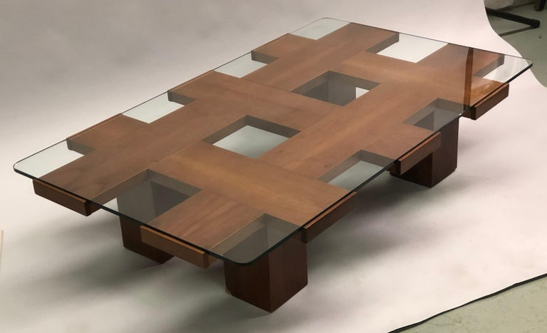 20th Century Italian Midcentury Ash & Glass Grid Motif Coffee Table Marco Zanuso, Attributed For Sale