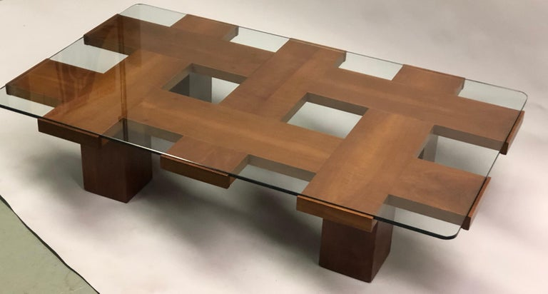 Italian Midcentury Ash & Glass Grid Motif Coffee Table Marco Zanuso, Attributed For Sale 1