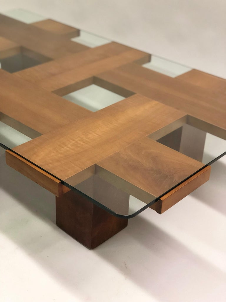 Italian Midcentury Ash & Glass Grid Motif Coffee Table Marco Zanuso, Attributed For Sale 3