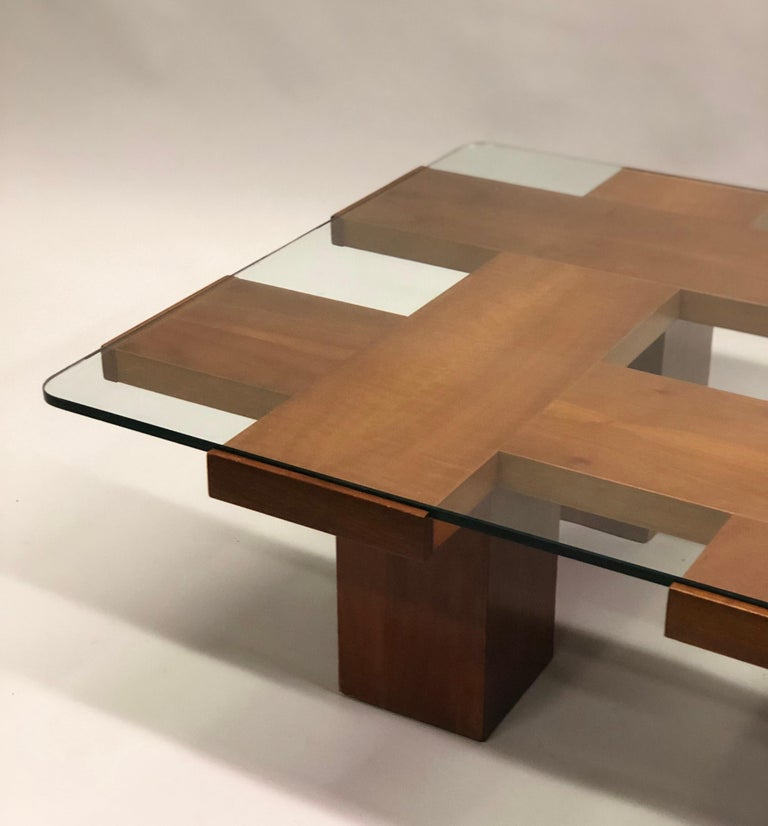 Italian Midcentury Ash & Glass Grid Motif Coffee Table Marco Zanuso, Attributed For Sale 4
