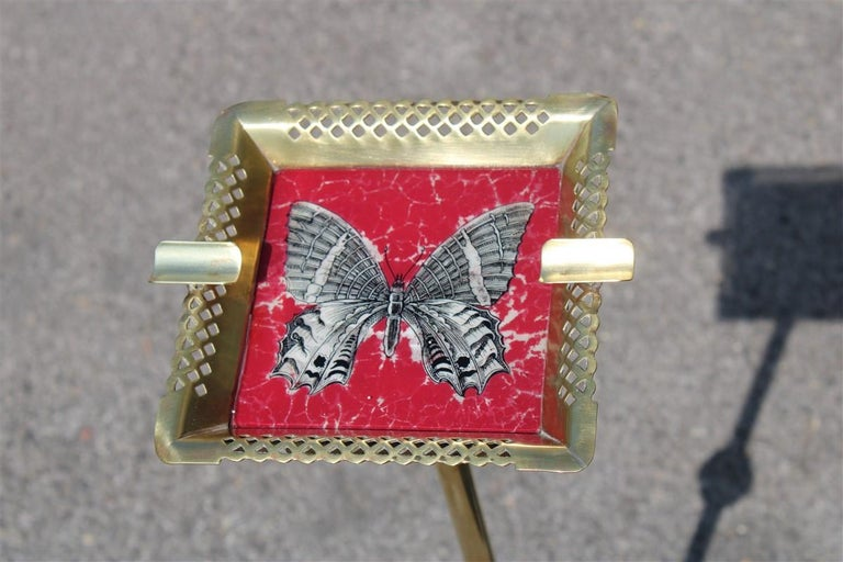 Italian midcentury ashtray glass brass gold butterfly decorated Fornasetti