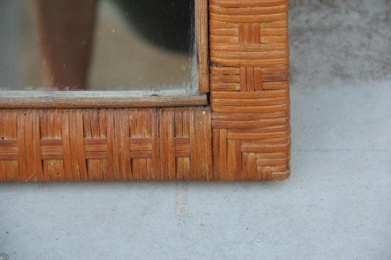 Mid-Century Modern Italian Midcentury Bamboo Wall Mirror Brown 1950s Rectangular Bonacina Braid For Sale