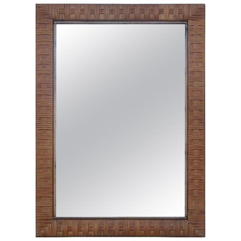 Italian Midcentury Bamboo Wall Mirror Brown 1950s Rectangular Bonacina Braid For Sale