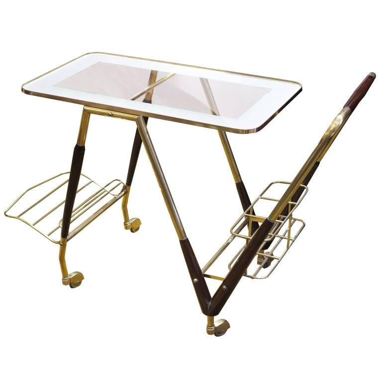 Italian Midcentury Bar Cart in Brass and Mahogany