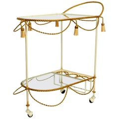 Italian Midcentury Bar Cart Made of Metal in Beige and Gold with Glass Elements