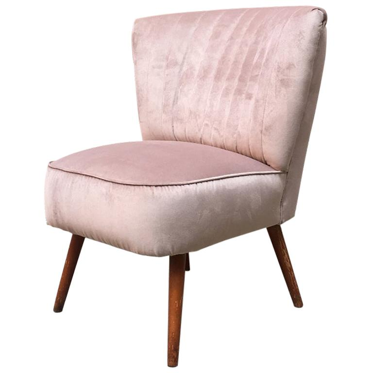 Italian Midcentury Beech and Powder-Colored Velvet Cocktail Chair, 1960s