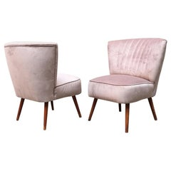 Italian Midcentury Beech and Powder-Colored Velvet Cocktail Chairs, 1960s