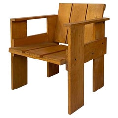 Italian Mid-Century Beech Crate Chair by G. T. Rietveld for Cassina, 1934