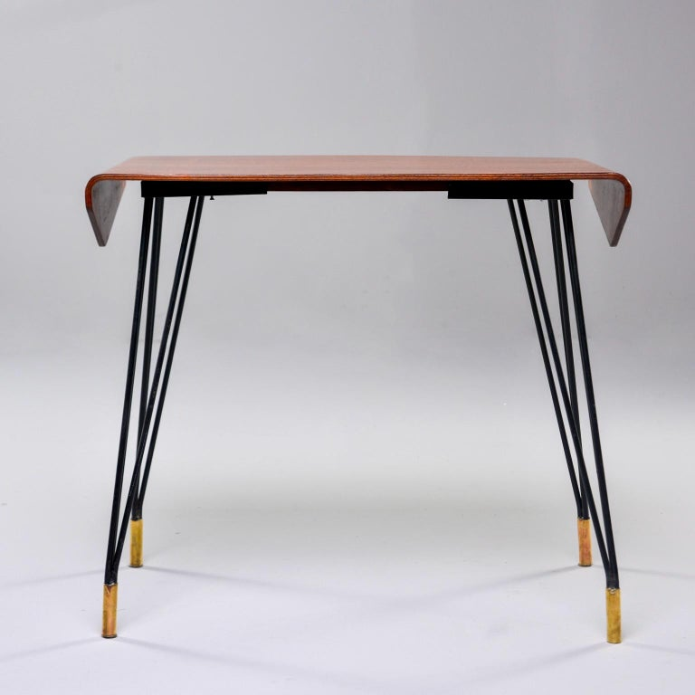 Italian Midcentury Bent Wood Table with Iron Legs and Brass Feet For Sale 2