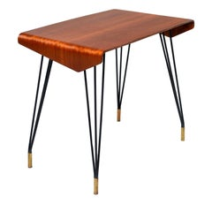 Italian Midcentury Bent Wood Table with Iron Legs and Brass Feet