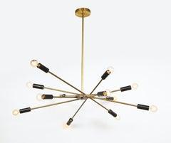 Italian Mid-Century Black and Brass Sputnik Chandelier