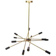 Italian Mid-Century Black and Brass Sputnik Chandelier