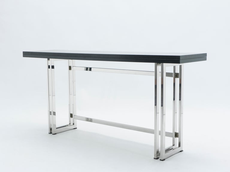 Italian Mid-Century Black Lacquer Chrome Extending Console Table 1970s For Sale 5