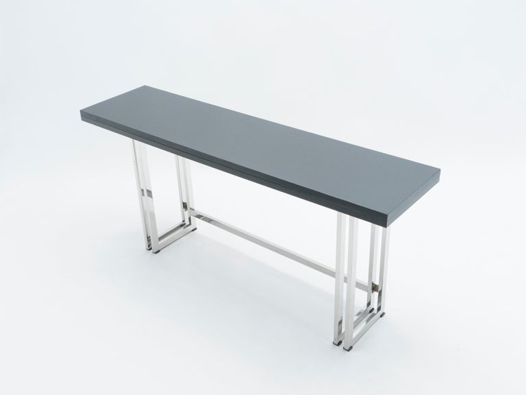 Italian Mid-Century Black Lacquer Chrome Extending Console Table 1970s For Sale 6