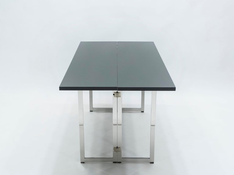 Italian Mid-Century Black Lacquer Chrome Extending Console Table 1970s For Sale 7