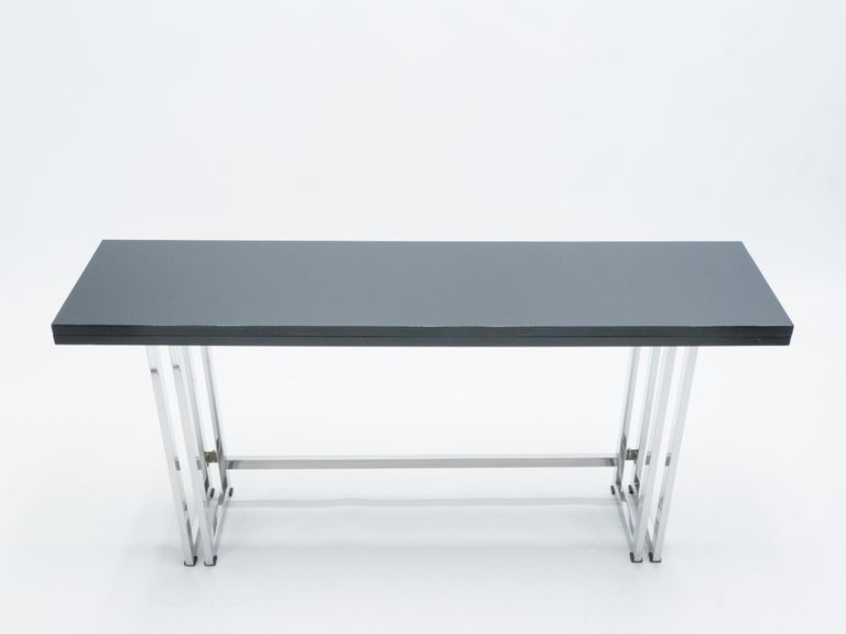 Mid-Century Modern Italian Mid-Century Black Lacquer Chrome Extending Console Table 1970s For Sale