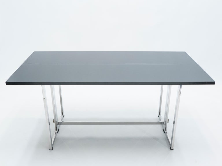 Italian Mid-Century Black Lacquer Chrome Extending Console Table 1970s In Good Condition For Sale In Paris, FR