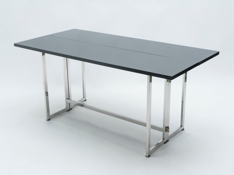 Late 20th Century Italian Mid-Century Black Lacquer Chrome Extending Console Table 1970s For Sale