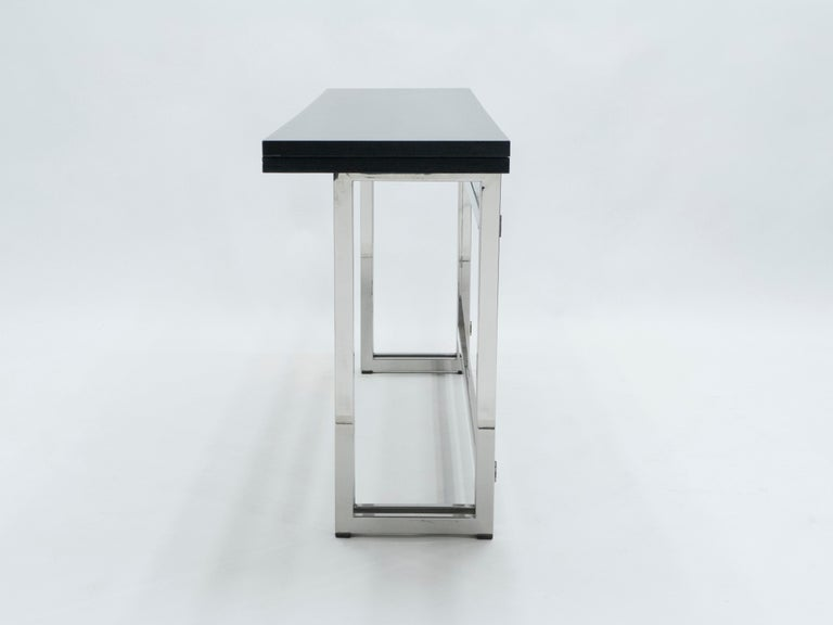 Italian Mid-Century Black Lacquer Chrome Extending Console Table 1970s For Sale 1