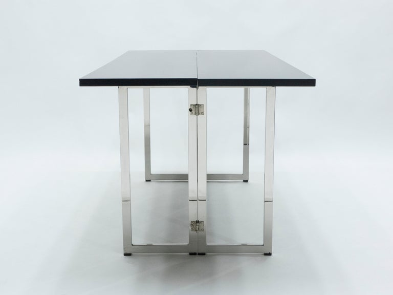 Italian Mid-Century Black Lacquer Chrome Extending Console Table 1970s For Sale 2