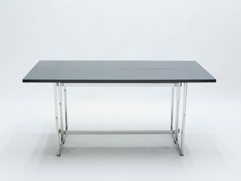 Italian Mid-Century Black Lacquer Chrome Extending Console Table 1970s For Sale 3