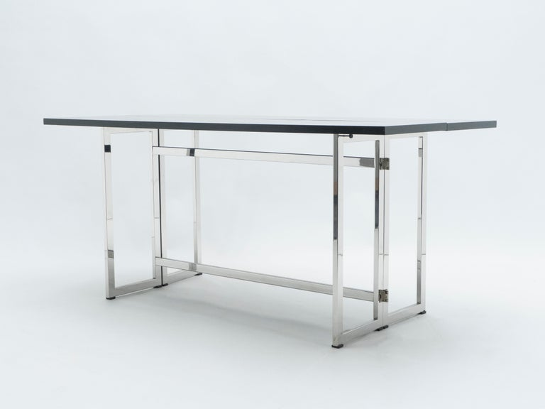 Italian Mid-Century Black Lacquer Chrome Extending Console Table 1970s For Sale 4