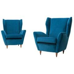 Italian Midcentury Blu Velvet Armchair, 1950s, Set of 2