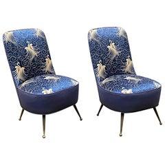 Italian Midcentury Blue Original Fabric Armchairs with Liberty Motif, 1950s
