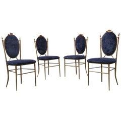Italian Midcentury Blue Velvet and Brass Chairs, 1940s