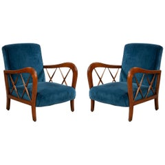 Italian Midcentury Blue Velvet and Walnut Lounge Armchairs