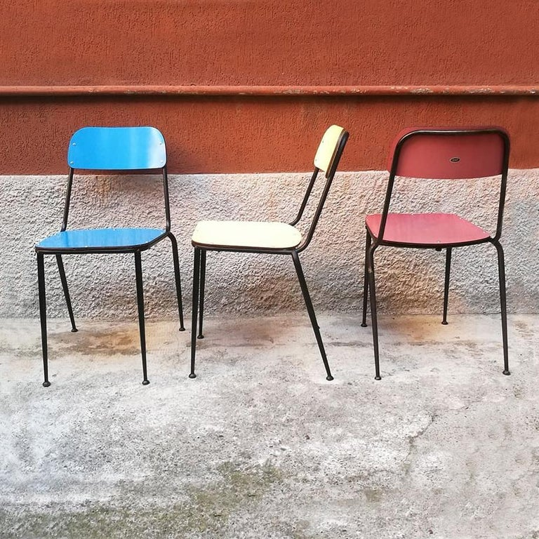 Mid-Century Modern Italian Midcentury Blue, Yellow and Red Laminate Chairs, 1950s