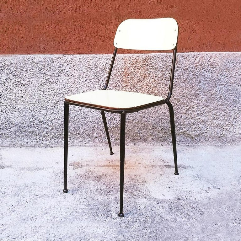 Italian Midcentury Blue, Yellow and Red Laminate Chairs, 1950s In Good Condition In MIlano, IT