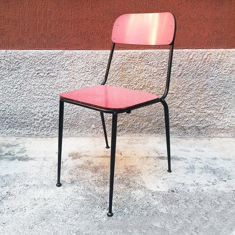 Mid-20th Century Italian Midcentury Blue, Yellow and Red Laminate Chairs, 1950s