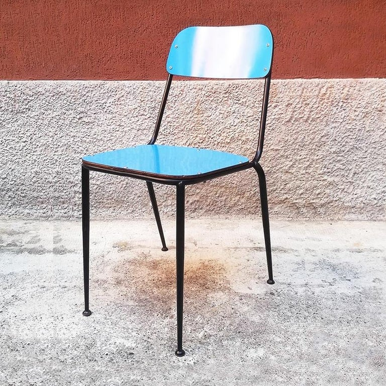 Steel Italian Midcentury Blue, Yellow and Red Laminate Chairs, 1950s