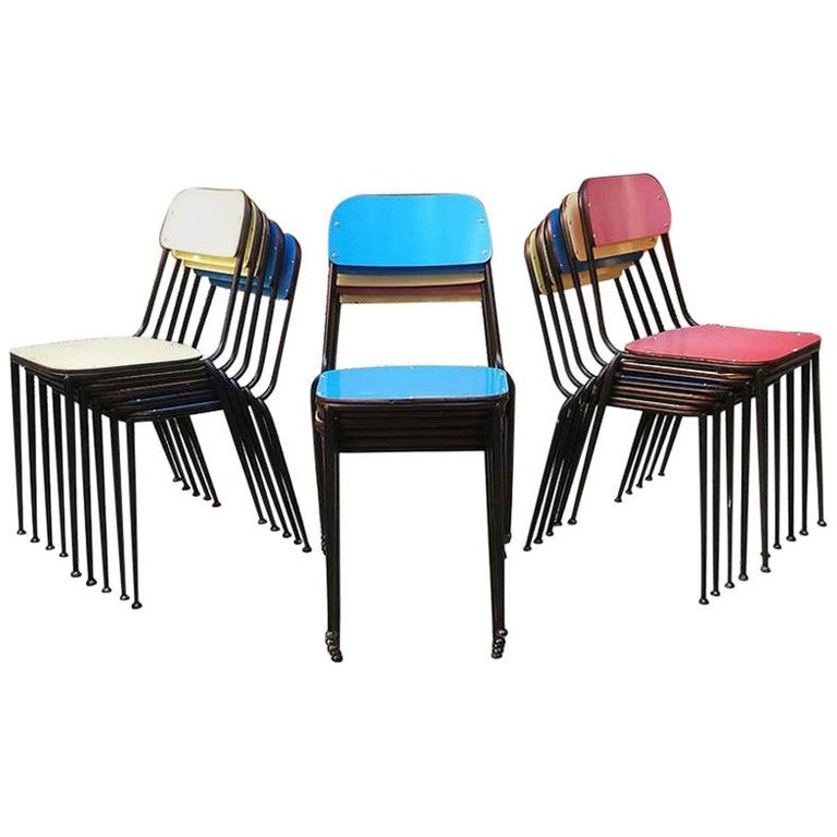 Italian Midcentury Blue, Yellow and Red Laminate Chairs, 1950s