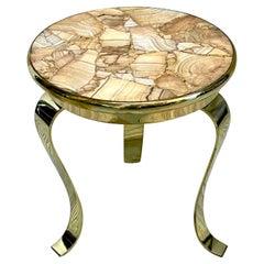 Italian Mid Century Brass & Agate Mosaic Drinks Table