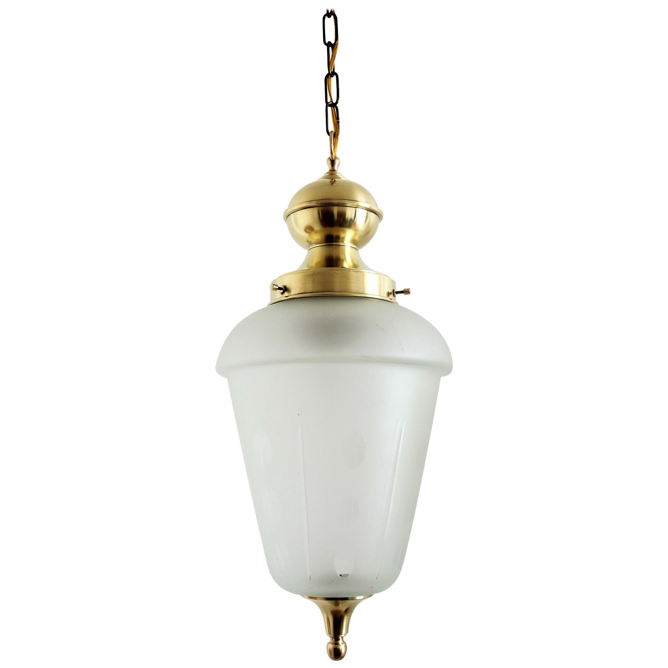 Italian Midcentury Brass and Cut Glass Pendant Lamp or Lantern, 1970s