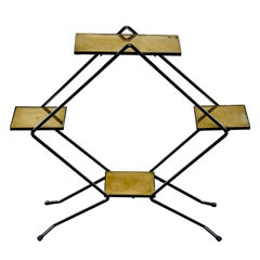 Italian Midcentury Brass and Iron Display Stand